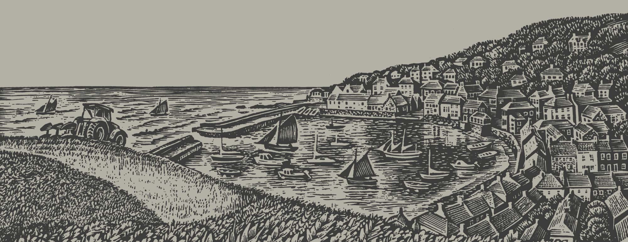 Woodcut town